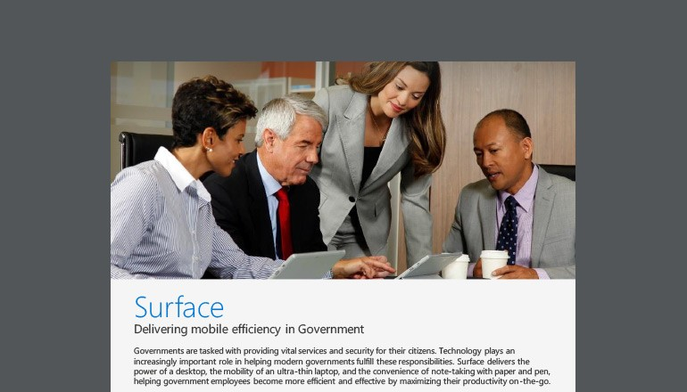 Microsoft Surface Delivering Mobile Efficiency in Government flier cover